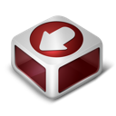 red, download icon