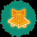 wreath, christmas, xmas, bells icon