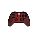 gamer, red, xbox one, gear, controller icon