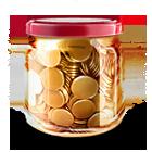 money, jar, bottle, savings icon