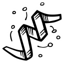 celebration, serpentine, new year, party icon