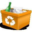 new, trashcan, garbage, orange, recycle bin icon