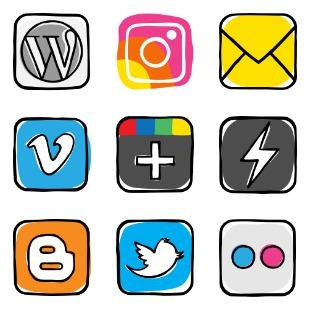 Colorful guache social media logos icon sets preview