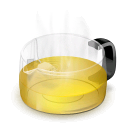 teapot, yellow, glass icon