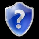 shield, help, blue, question mark icon