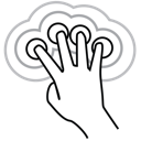 four, gestureworks, triple, finger, tap icon