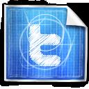 twitter, social media, blue print icon