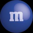 m&m, dark blue, color, blue, colour, chocolate icon