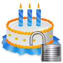 Birthday, Cake, Unlock icon