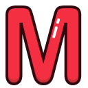 letters, alphabet, m, red, letter icon