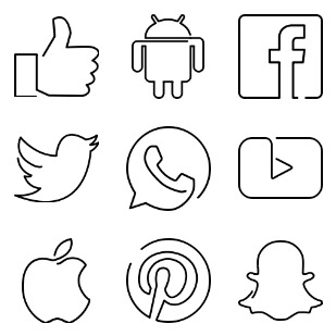 Continuous Line Media icon sets preview