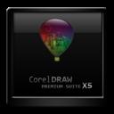 Black, Corel, Draw, x icon