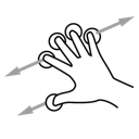 finger, drag, five, gestureworks icon