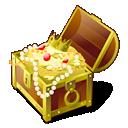 treasure, chest, gold icon