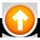 up, orange, orb, arrow icon