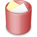 red, recycle bin, full, trash icon