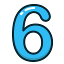 six, blue, numbers, number, study icon