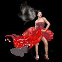 Dress, Girls, Red icon