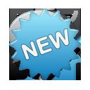 label, new, blue icon