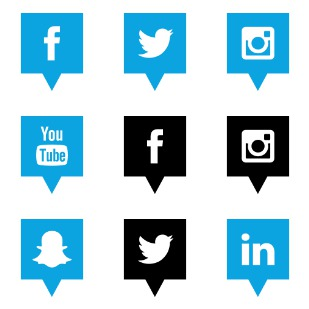 Social Media Pins 2 icon sets preview