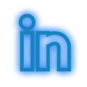 social, set, neon, linkedin, media icon