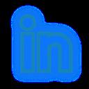 social, set, neon, linkedin, media icon