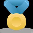 gold, blue, metal icon