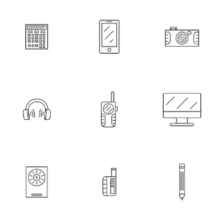 Assorted Gadgets and Items icon sets preview