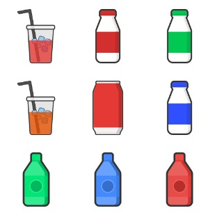 Beverage packaging pack 1 icon sets preview