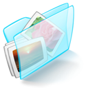 dossier, blue, pictures icon