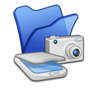 folder, blue, &, scanners, cameras icon