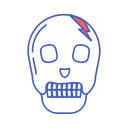 skull, dead, head, bone, line icon