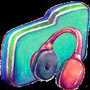 Folder, Green, Music icon