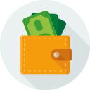 pay, finance, dollars, money, purse icon