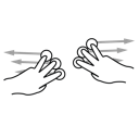 gestureworks, three, split, finger icon
