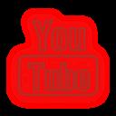 neon, media, social, youtube, set icon