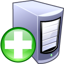 computer, plus, add, server icon