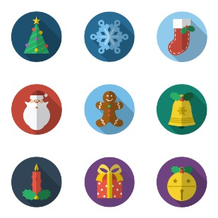 Christmas flat ten icon sets preview