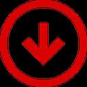down, arrow, trend, direction, negative icon