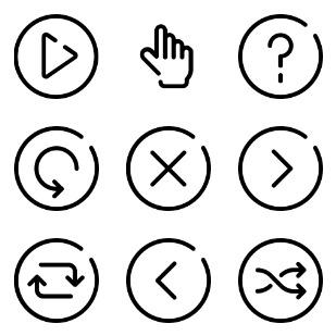 Audio Controls UI icon sets preview