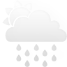 partly, cloudy, white, rain icon