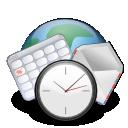 calendar, earth, world, internet, clock, email icon