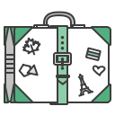 suitcase, case, baggege, travel, travelling, stickers, journey icon