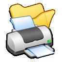 yellow, folder, printer icon