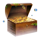 jewel, chest, coins, gold, treasure icon