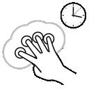 hold, gestureworks, four, finger icon