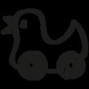Duck hand drawn wheels toy icon