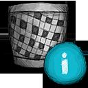 trash, info icon