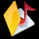 Folder, Music, Yellow icon
