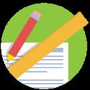 school, pencil, ruler, work, measure icon